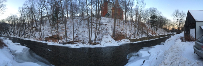 Panorama of the pretty river behind the hostel.