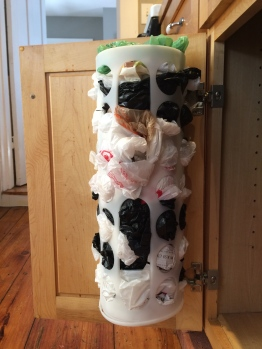 This was the best $3 IKEA purchase. It goes under the sink and is an easy way to store and grab plastic bags.
