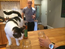 A kitchen island: excellent for a friend's cat to jump on.