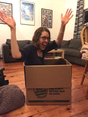 My friend Cori, who is being super helpful in helping me box stuff up.