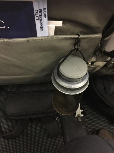 Hydrapak with S-carabiner on a Jetblue flight