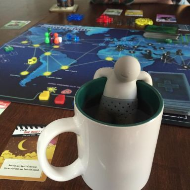 Playing Pandemic at Kay's house. I didn't know I was going to blog about Pandemic, so I was actually taking a picture of the Tea Man. :)