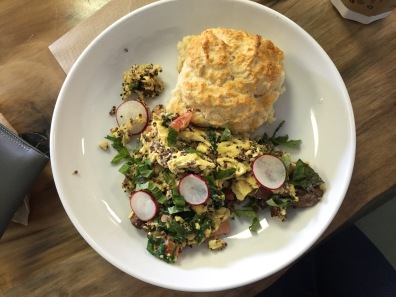 Quinoa scramble plus fluffy biscuit