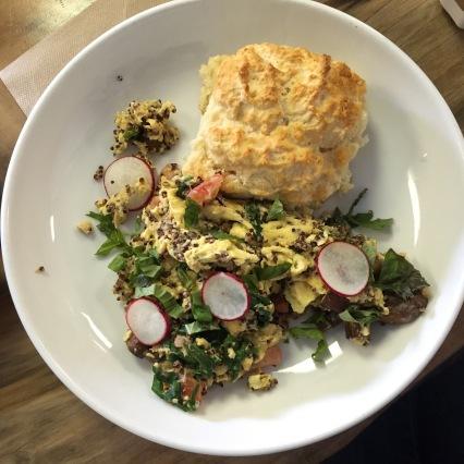Quinoa scramble plus fluffy biscuit