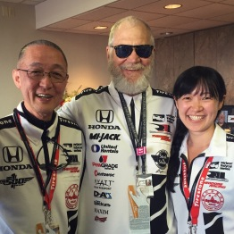 Meeting David Letterman at the suite while watching the race.