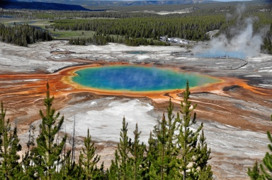 The trail to the Grand Prismatic overlook was closed, so this image is courtesy of Wikimedia Commons.