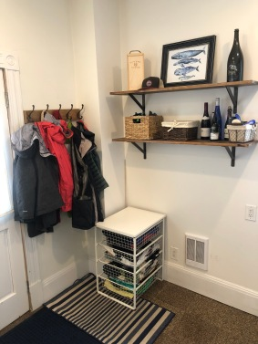 With the shelves and coat rack up.