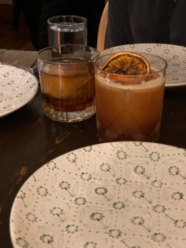 A Good 'Ol Boy (brown butter bourbon) and Monkey God (23-year rum).