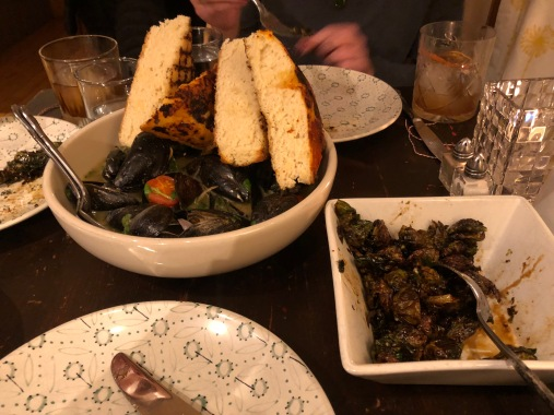 Green curry mussels (the bread was wow) and brussel sprouts.