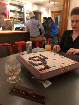 Emily won scrabble (she always does).